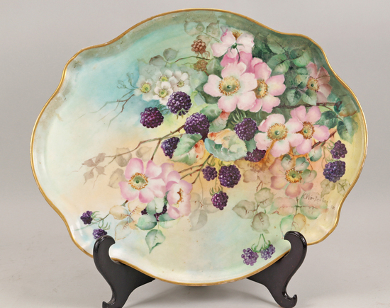 Antique French Hand Painted Tray, Ca. 1900