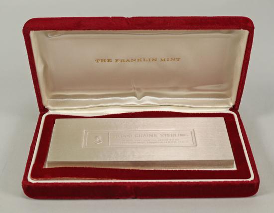 10,000 Grains Sterling Bullion - U.S. Treasury Silver,  Franklin Mint