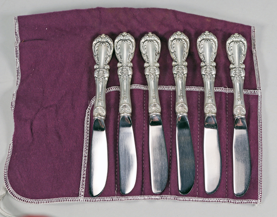 6 Reed & Barton Sterling Silver Handled Butter Knives, 90 Grams