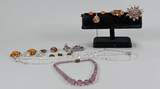 Vintage Costume Jewelry: Glass Beads, Brooches, Earrings