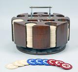 Vintage Poker Chips w/ Wooden Carrier