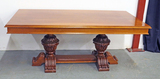 Large Library Table w/ Carved Pedestal