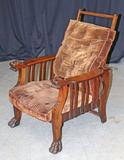 Unique Antique Morris Style Chair w/ Carved Details