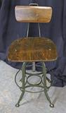 Vintage Drafting Style Stool w/ Backrest & Foot Rail
