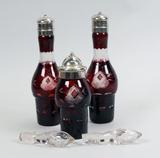 Cranberry Cruet Bottles & Glass Stoppers