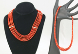 Coral Colored Beaded Necklace, Polished Disc Necklace