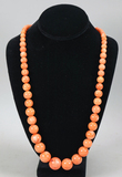 Polished Stone Beaded Tangerine Colored Necklace
