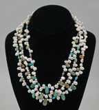 Multi-Strand Natural Pearl & Polished Stone Necklace