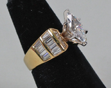 Gold Plated Sterling Silver CZ Ring, Sz. 8