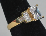 Gold Plated .925 Ring w/CZ Stone, Sz. 8