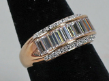 Gold Plated .925 Ring w/Baguette Stones, Sz. 9