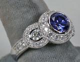 .925 Ring w/Round Blue Colored Stone & CZ Stones, Sz. 9