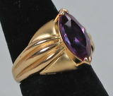 Gold Plated .925 Ring w/Purple Colored Stone, Sz. 8