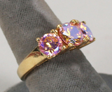 Gold Plated .925 Ring w/Colored Crystal Type Stones, Sz. 8