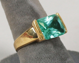 Gold Plated .925 Ring w/Green Colored Stone, Sz. 8.25