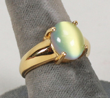 Gold Plated .925 Ring w/Colored Crystal Type Stone, Sz. 8