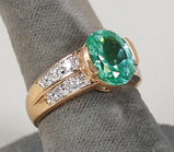Gold Plated .925 Ring w/Green Colored Stone & CZ Stones, Sz. 8