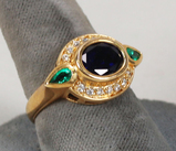 Gold Plated .925 Ring w/Center Blue Stone and Green & CZ Stones, Sz. 9