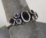 .925 Ring w/Purple Colored Stones, Sz. 9.5