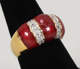 Gold Plated .925 Ring w/Red Colored Stones and CZ Stones, Sz. 9