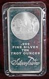 Ten Troy Ounces of .999 Fine Silver Bullion