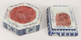 Two Chinese Ming Style Blue and White Ink Grinders