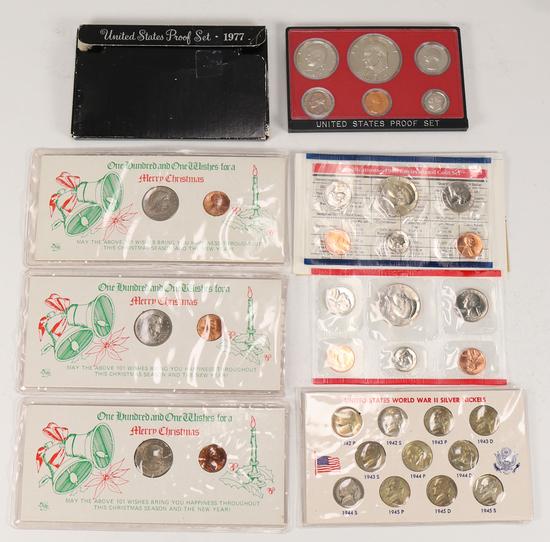 1977 US Proof Set, 1986 US Unc. Coin Set, US War II Silver Nickels &