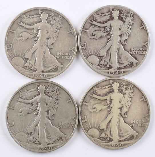 4 - 1940-S Walking Liberty Half Dollars