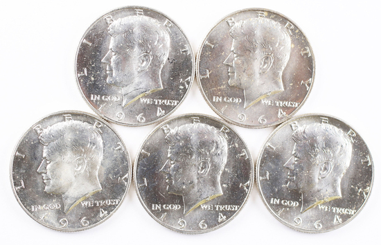 5 - 1964-D Kennedy Half Dollars