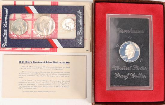 1776-1976 US Bicentennial Silver Unc Set & 1971 Eisenhower Proof Dollar