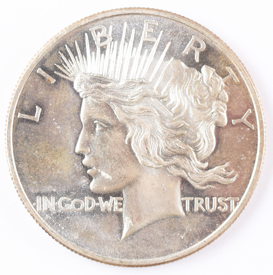 1 Troy Oz .999 Silver Round Peace Dollar Design