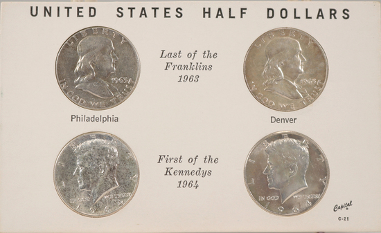 1963/1963-D Franklin Silver Halves &  1964/1964-D Kennedy Silver Halves