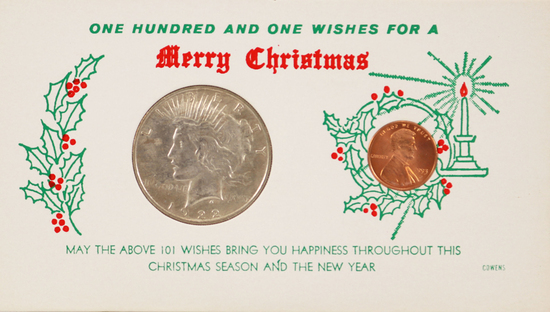 """1922-P Peace Silver Dollar & 1993-D Lincoln Head Cent """"101 Wishes for a Merry Christmas"""""""