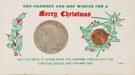 """1922-P Peace Silver Dollar & 2002-D Lincoln Head Cent """"101 Wishes for a Merry Christmas"""""""
