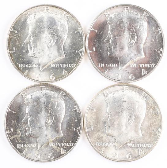 4 1964-D Kennedy Half Dollars (90% Silver)