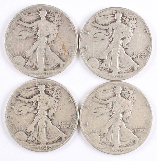 4 1940-P Walking Liberty Half Dollars