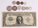1923 $1 Large Size Blue Seal Silver Certificate,1945  Walking Liberty Half Dollar, 1873 3 Cent +