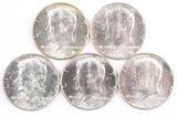 5 1964-P Kennedy Half Dollars (90% Silver)