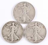 3 1940-S Walking Liberty Half Dollars