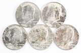 5 1964-D Kennedy Half Dollars (90% Silver)