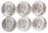6 1964-P Kennedy Half Dollars (90% Silver)