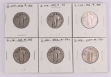 6 Standing Liberty Quarters; 1926,2-1928,1929, 2 can read dates