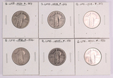 6 Standing Liberty Quarters; 1926,1928,1929,1930, 2 can read dates