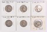 6 Washington Silver Quarters; 1932,1934,1935,1935-D,1935-S,1936-S