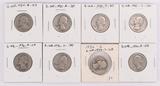 8 Washington Silver Quarters; 1934,1935,1935-D,1935-S,1936,1936-D,1936-S,1937