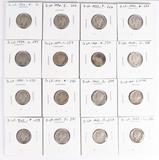 16 Mercury Silver Dimes; 1936,1936-D,1937,1939,1939-D,1939-S,1940,1940-D and