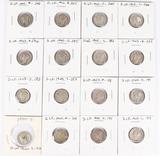 16 Mercury Silver Dimes; 2-1941,1941-D,,1941-S,1942,1942-D,1942-S,1943,1943-D, and