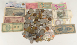 Bag of Foreign Currency & Coins