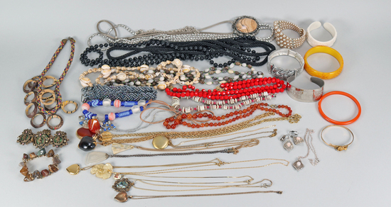 Assorted Costume Jewelry: Bakelite Bracelets, Necklaces, Pendants & More