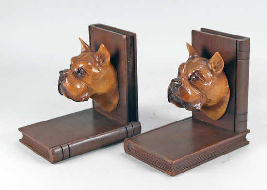 Antique Carved Dog Head Bookends
